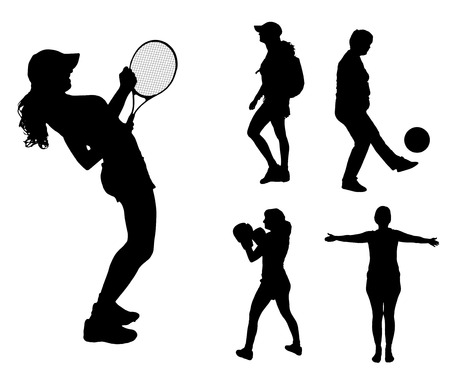 Vector silhouettes of different women in different sports. Vector