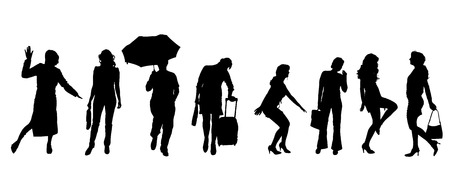 sexy umbrella: Vector silhouettes of women on a white background. Illustration