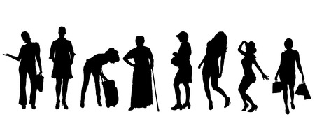 Vector silhouettes of women on a white background. Vector