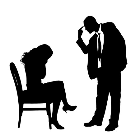 Vector silhouette of a couple who is arguing on a white background. Vector
