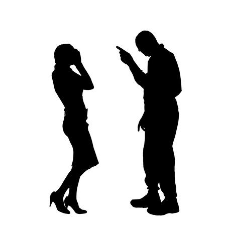白い背景の議論はカップルのベクトル シルエット。