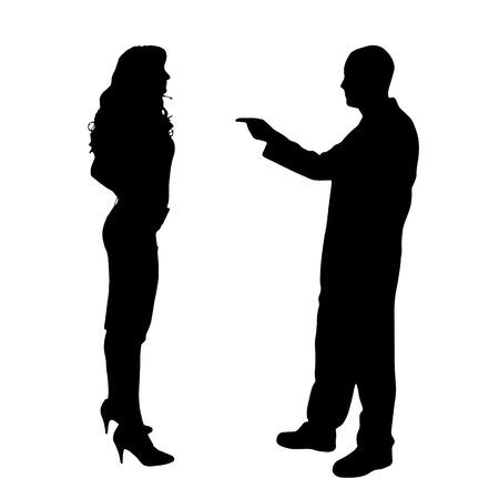 白い背景に主張している夫婦のベクトル シルエット。