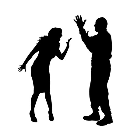 Vector silhouette of a couple who is arguing on a white background.