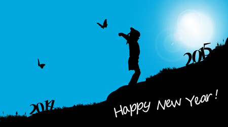 end of the days: Vector silhouettes of girl who celebrate the new year.