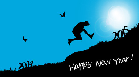 Vector silhouette of a man who jumps into the new year. Vector