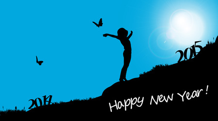 Vector silhouettes of woman who celebrate the new year. Vector