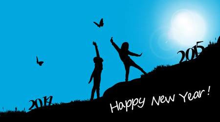 Vector silhouettes of children who celebrate the new year. Vector