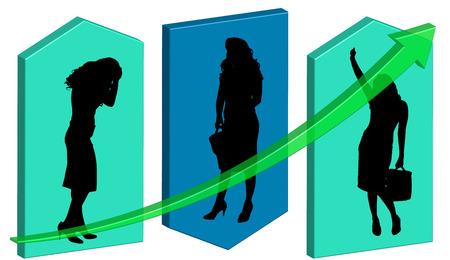 Vektor-Illustration Hintergrund mit einer Silhouette einer Unternehmerin. Standard-Bild - 34232957