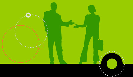 meet up: Vector silhouettes of business people on a green background.