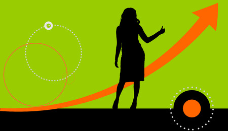 futuristic girl: Vector illustration background with a silhouette of a woman. Illustration