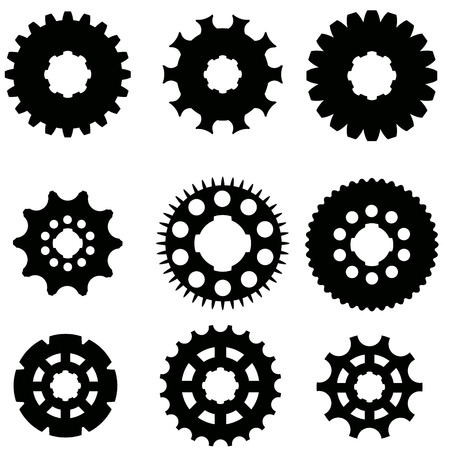 toothed: Vector image of gears on a white background.