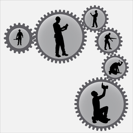 sprockets: Vector silhouettes of man in the sprockets.