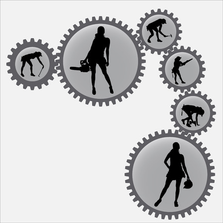 sprockets: Vector silhouettes of woman in the sprockets.