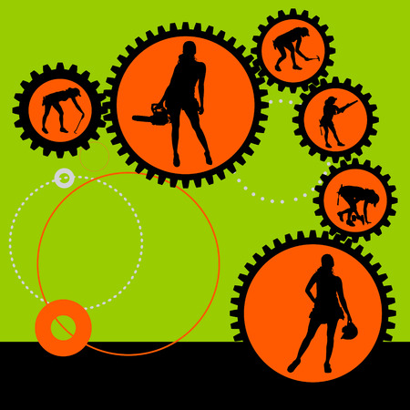 futuristic girl: Vector silhouettes of woman in the sprockets.