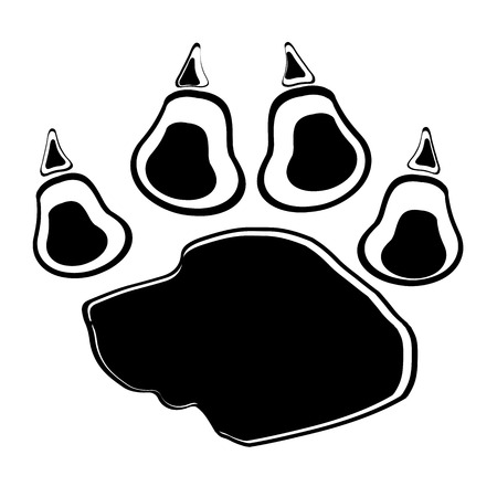 Vector image of paw on a white background. Vector