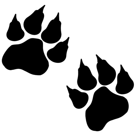 Vector image of paws on a white background.