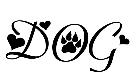 Vector image of text with dog paws. Vector