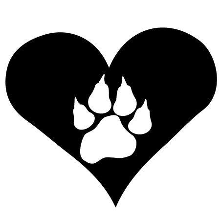 Vector image heart with paw on black background. Vector