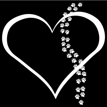 Vector image heart with paws on black background. Illustration
