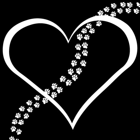 Vector image heart with paws on black background. Stock Illustratie