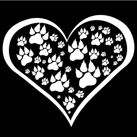 Vector image heart with paws on black background. Vector