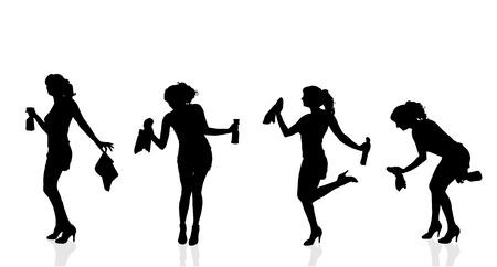 jolie fille: Vector silhouette de la femme qui nettoie sur un fond blanc