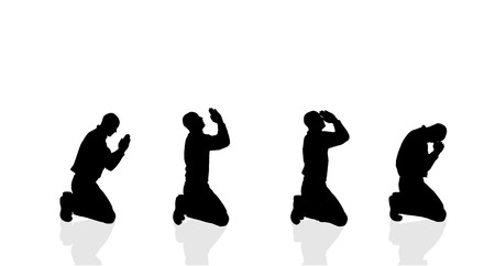 Vector silhouette of a man who prays on a white background.