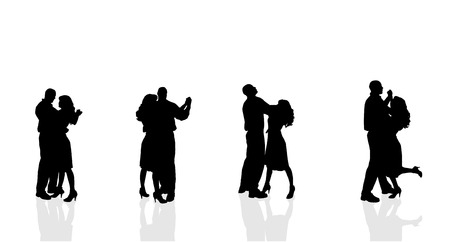 happy couple: Vector silhouette of couple dancing on a white background.