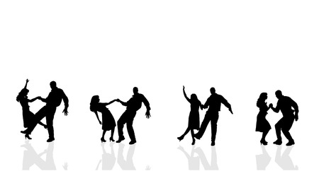 black people dancing: Vector silhouette of couple dancing on a white background.