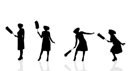 service icon: Vector silhouette of the woman who cleans. Illustration