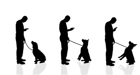Vector silhouette of a man with a dog on a white background.