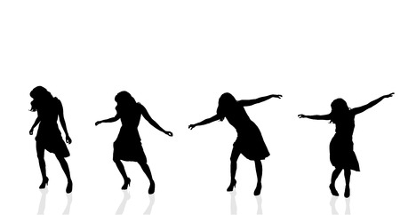 Vector silhouette of a woman who dances on a white background. Vector
