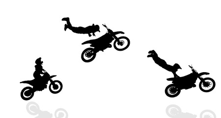 fmx: Vector silhouette of a biker who jumps. Illustration