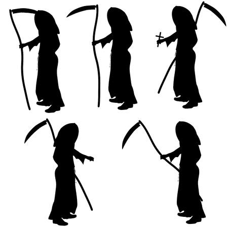grim: Vector silhouette of Grim Reaper on a white background.