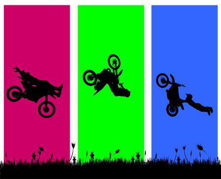 lanscape: Vector silhouette of a biker who jumps. Illustration