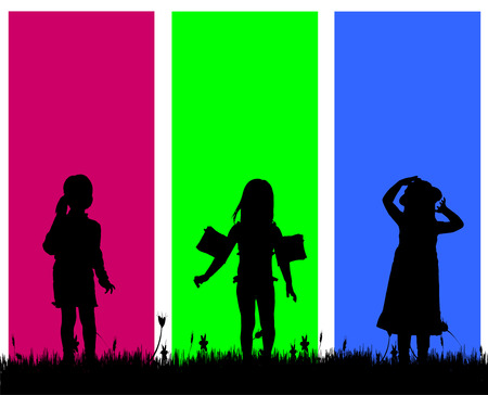 young people fun: Vector silhouette of a girl on a colored background. Illustration