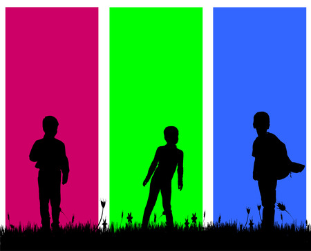 Vector silhouette of a boy on a colored background. Vector