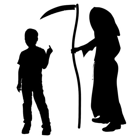 sneer: Vector silhouette of a boy with the Grim Reaper on a white background. Illustration