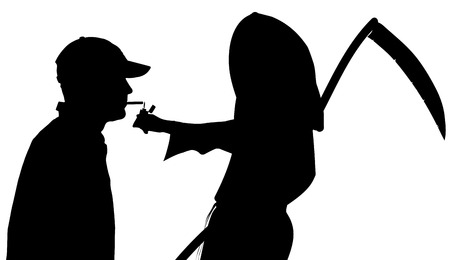 Vector silhouette of a man with the Grim Reaper on a white background. Vector