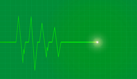 cardiograph: Vector background with life line on green background.