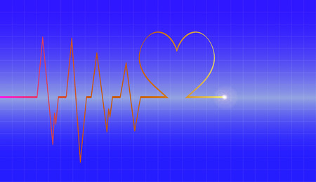 cardiograph: Vector background with life line on blue background.