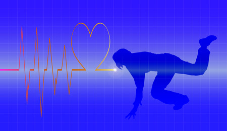 healt: Vector background with life line on blue background.