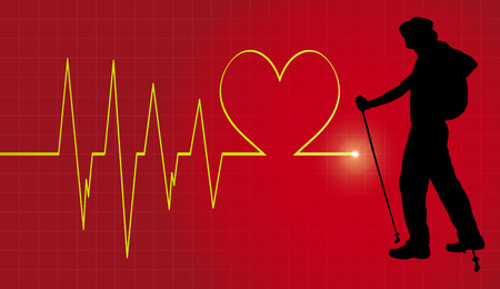 healt: Vector background with life line on red background. Illustration