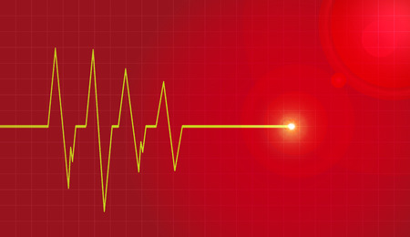 life line: Vector background with life line on red background. Illustration