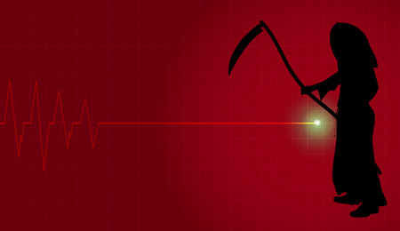 grim: Vector background with life line on red background. Illustration