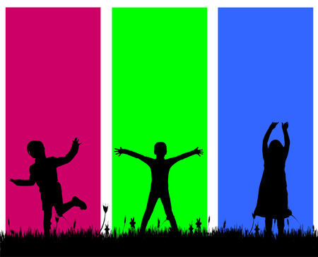 young people fun: Vector silhouette of a children on colored background.