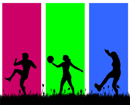 balon voleibol: Vector silueta de las personas que hacen ejercicio en un fondo coloreado.