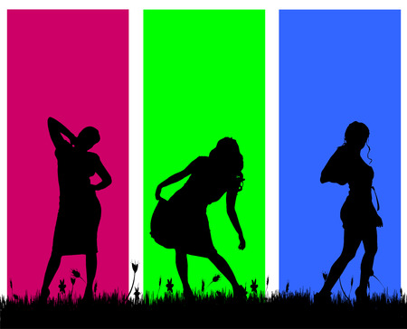 Vector silhouettes of women on a colored background. Vector