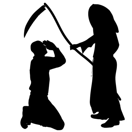 implore: Vector silhouette of a man with the Grim Reaper on a white background.