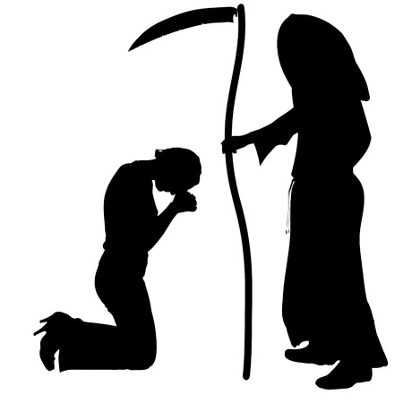 implore: Vector silhouette of a woman with the Grim Reaper on a white background.